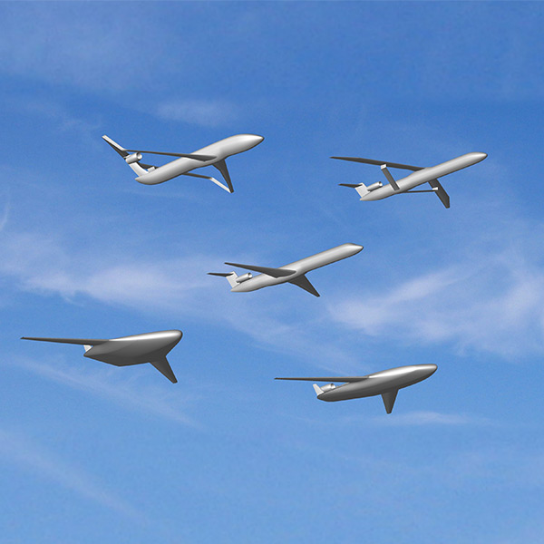 Rendering of five aircraft, one conventional design of a plane compared to four new concepts