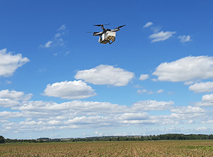 Drone above a field
