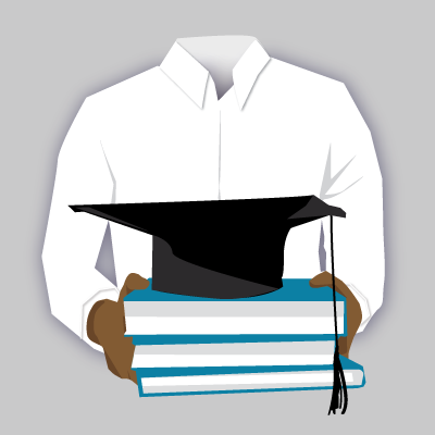 Illustration of a man holding a stack of academic books