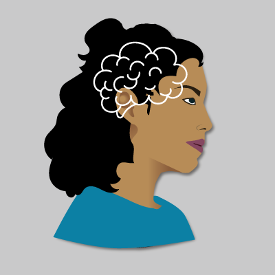 Illustration of a woman using her brain